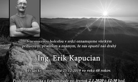 , Posledná rozlúčka s Erikom Kapucianom, ,