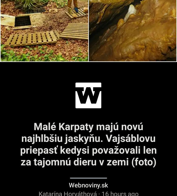 , Webnoviny.sk: Malé Karpaty majú novú najhlbšiu jaskyňu. Vajsáblovu priepasť kedysi považovali len za taj omnú dieru v zemi (foto) – NášVidiek.sk